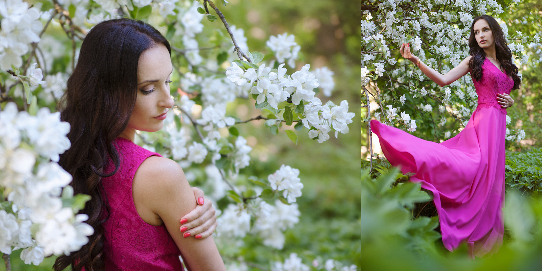 gorgeous woman in blossom